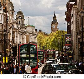 occupé, ben, grand, autobus, angleterre, uk., rue, londres, rouges