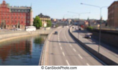 occupé, circulation dense, ville, autoroute, autoroute, heure, jonc, confiture