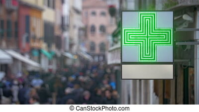 occupé, croix, pharmacie, rue, vert, signe
