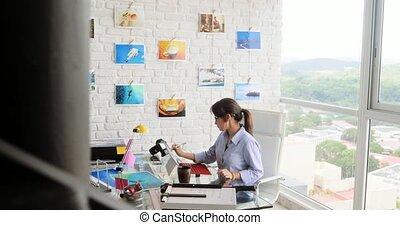 occupé, fonctionnement, photographe, pc portable, studio