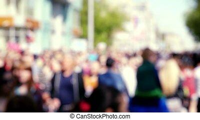 occupé, foule, gens, très, brouillé, slowmotion., rue, rempli, anonyme, 1920x1080