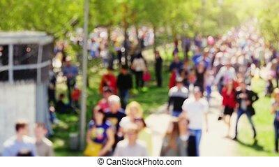 occupé, foule, très, brouillé, slowmotion., rue, rempli, anonyme, 1920x1080