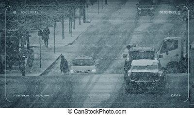occupé, gens, cctv, croisement, tempête neige, route