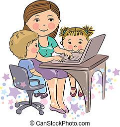 occupé, gosses, mère, travaux