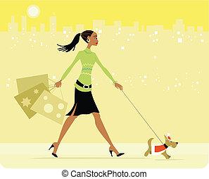 occupé, marche, achats femme, chien