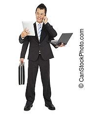 occupé, serviette, tablette, téléphone, mobile, pc portable, tenue, homme affaires