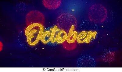 octobre, coloré, texte, feux artifice, salutation, particules, éclat