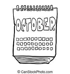 octobre, projection, mois, noir, freehand, dessiné, calendrier, blanc, dessin animé