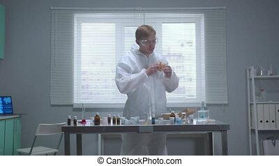odeur, homme, protecteur, laboratoire, choses, workwear
