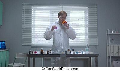odeur, laboratoire, homme, mouvement, protecteur, lent, choses, workwear