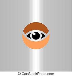 oeil, agrafe, symbole, élément, vecteur, logo, art, cercle, icône