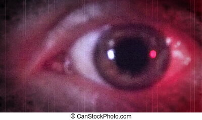 oeil bleu, rouges, terrifiant, ambulance