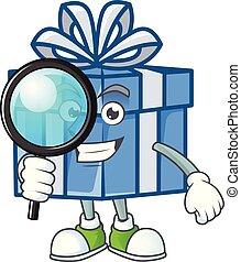 oeil, bleu, style, boîte-cadeau, une, dessin animé, caractère, détective