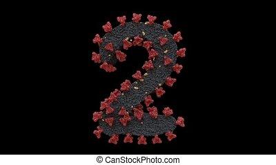 oeil caractère, virus, cellule, boucle, 2, lettres, alpha, animé