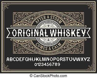 oeil caractère, whisky, décoratif, vendange, étiquette