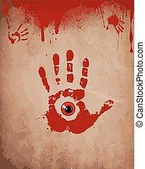 oeil, carte, spots., intérieur, illustration, égouttement, symbole., papier, vecteur, sanguine, fond, impression, vieux, sanglant, main, rouges