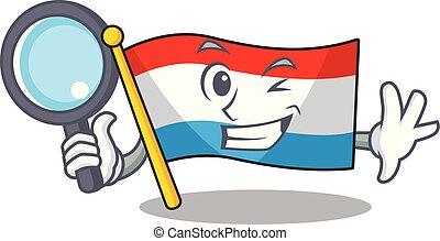 oeil, drapeau, caractère, gai, luxembourg, une, détective, dessin animé