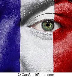 oeil, exposition, peint, soutien, figure, drapeau, vert, france