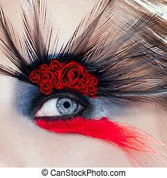 oeil femme, macro, maquillage, roses, oiseau noir, rouges
