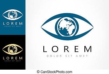 oeil, la terre, planète, logo
