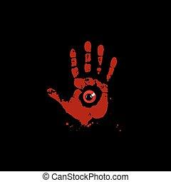 oeil, monstre, agrafe, illustration, intérieur, isolé, main, arrière-plan., vecteur, noir, impression, icône, sanglant, rouges, art.