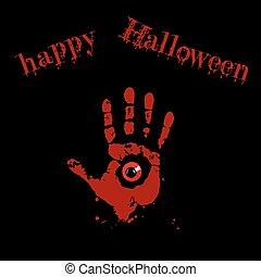 oeil, monstre, carte, halloween, intérieur, illustration, text., main, invitation., vecteur, arrière-plan noir, impression, sanglant, rouges, heureux
