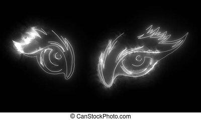 oeil, néon, animal, vidéo numérique