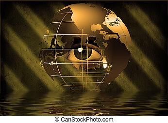oeil, pairs, par, la terre