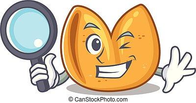 oeil, petit gâteau fortune, caractère, gai, une, détective, dessin animé