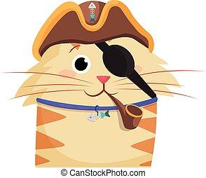 oeil, pirates, isolé, chat, tuyau, bandage, fumer, chapeau, pirate