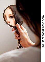 oeil, reflet, miroir