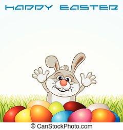 oeufs, salutation, lapin pâques, carte, heureux