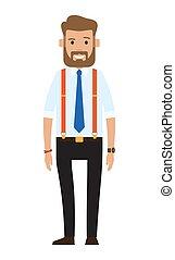 officiel, illustration, dessin animé, jeune, barbu, conception, plat, tissu, businessman., homme, beau