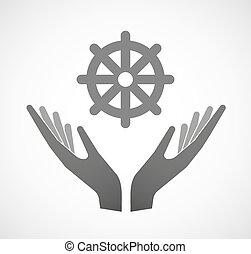 offrande, deux, signe, dharma, mains, chakra
