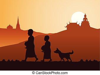offrande, ou, nourriture, style, moine, promenade, routine, recevoir, suivre, demander, moine, chien, silhouette, aumône