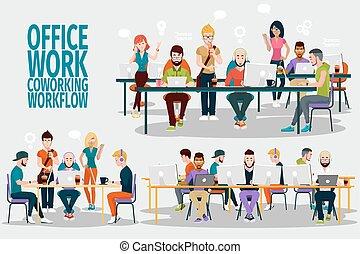 ofiice, groupe, travail