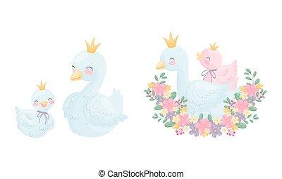 oie, arrangement, doré, cygne, beau, vecteur, ou, blanc, floral, couronne, ensemble