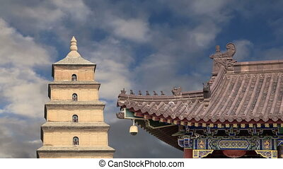 oie, sauvage, xian, pagode, géant