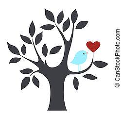 oiseau, amour, arbre