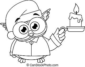 oiseau, bébé, dessin animé, tenue, bougie, hibou, caractère, mignon, esquissé, pyjamas