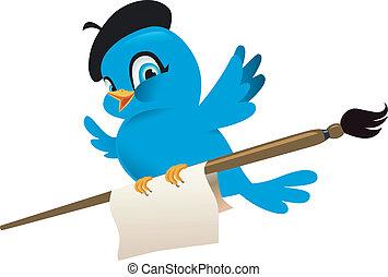 oiseau bleu, illustration, dessin animé