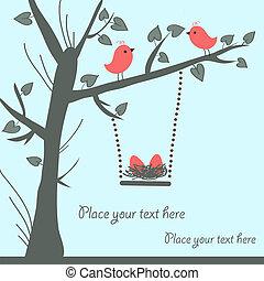 oiseau, carte, vecteur