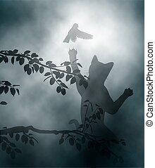 oiseau chanteur, ambushing, chat