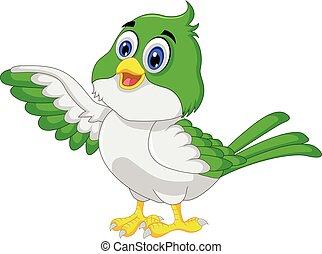 oiseau, dessin animé, poser, mignon