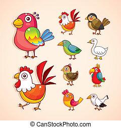 oiseau, ensemble, dessin animé, icône
