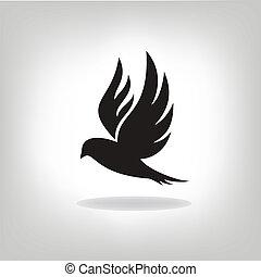 oiseau, expansé, noir, isolé, ailes