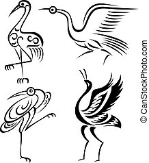 oiseau, illustration, grue