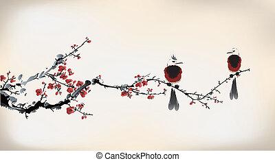 oiseau, peinture