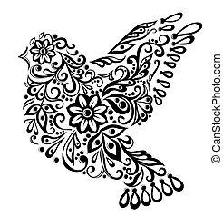 oiseau, résumé, isolé, main, white., dessin