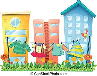 oiseau, vêtements, lavé, jardin, pendre